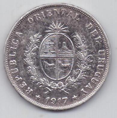 50 сентесимо 1917 г. Уругвай