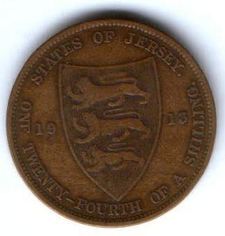 1/24 шиллинга 1913 г. Джерси Великобритания