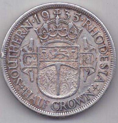 1/2 кроны 1935 г. редкий год. Родезия. Великобритания