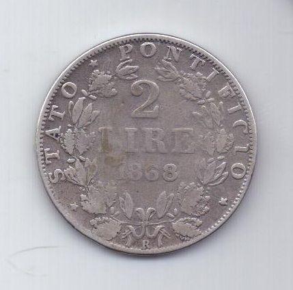 2 лиры 1868 г. редкий год. Ватикан
