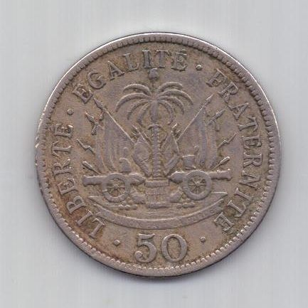 50 сантимов 1908 г. XF. Гаити