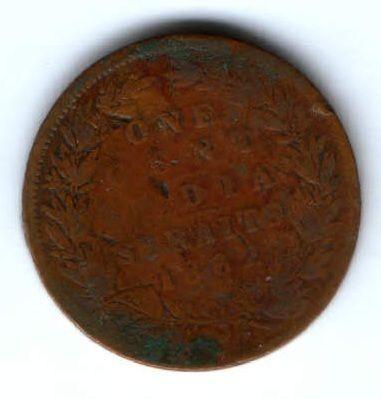1 цент 1862 г. редкий год Стрейтс Сетлментс