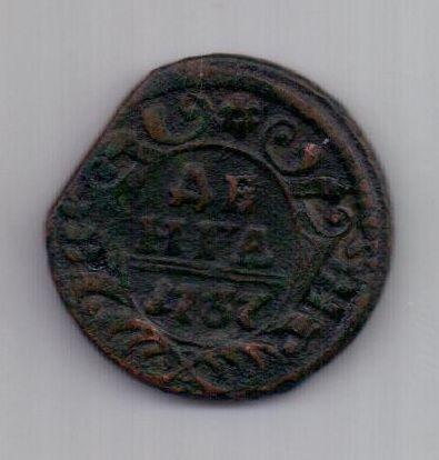 деньга 1737 г. перечекан +брак