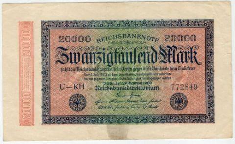 20000 марок 1923 г. Германия