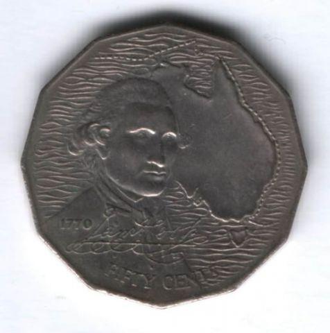 50 центов 1970 г. Австралия, 200 лет путешествию Кука