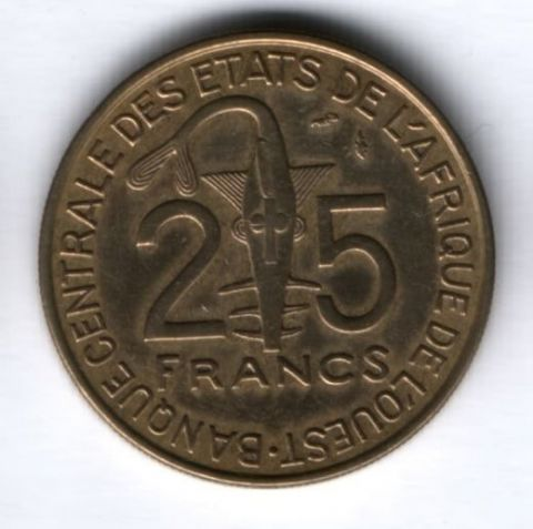 25 франков 1987 г. Западные Африканские Штаты