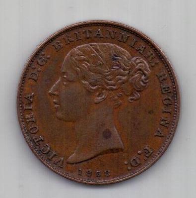 1/26 шиллинга 1858 г. AUNC. Джерси. Великобритания